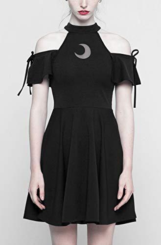 Lacets Lune et Transparente Patineuse avec Noire Witchy Manches Gothique Noir Robe 4aIPx
