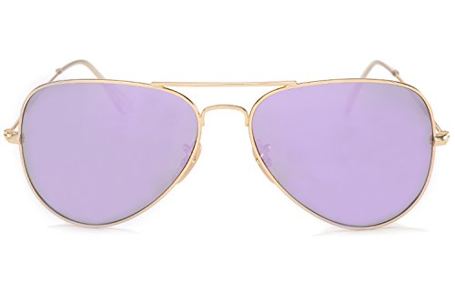 30c85ce424 YuFalling Polarized Aviator Sunglasses for Men and Women (gold frame lilac  purple lens
