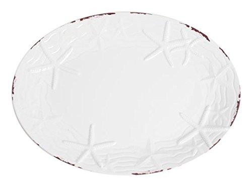 Galleyware Classic White Raised Starfish Melamine Oval Platter