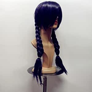 Women Lady Hair Double Braids Braided Oblique Bang Long Cosplay Wig Purple Hot