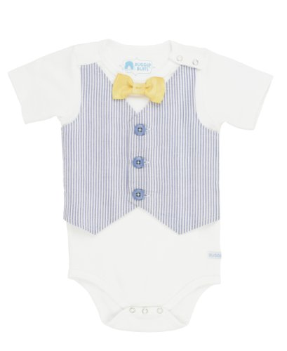 RuggedButts Infant / Toddler Boys One-Piece Seersucker Body Suit - Blue Seersucker - 3-6m