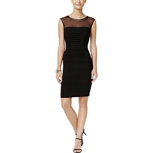 Xscape Womens Embellished Shutter Pleat Bodycon Dress Black 16