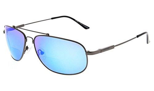 Eyekepper Bifocal Reading Sunglasses Bendable Memory Sunshine Readers Women Men (Gunmetal Frame Blue Mirror, 2.50)