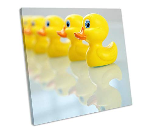 456Yedda Canvas Print Rubber Ducks Bathroom Framed Wall Art Square Picture Bedroom Bathroom Decoration Wall Art Wall Decor ()