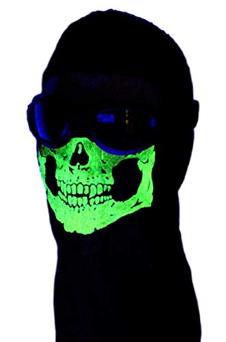 American Made Childs Size Glow in the Dark 2 Hole Winter Hood Skeleton Skull Ghost Ski Face Mask Balaclava Fits Heads 18-21.5 inches Circumference ()