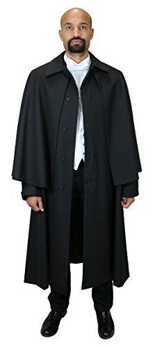Historical Emporium Men's Wool Blend Inverness Dress Coat M/L Black Victorian Cape May