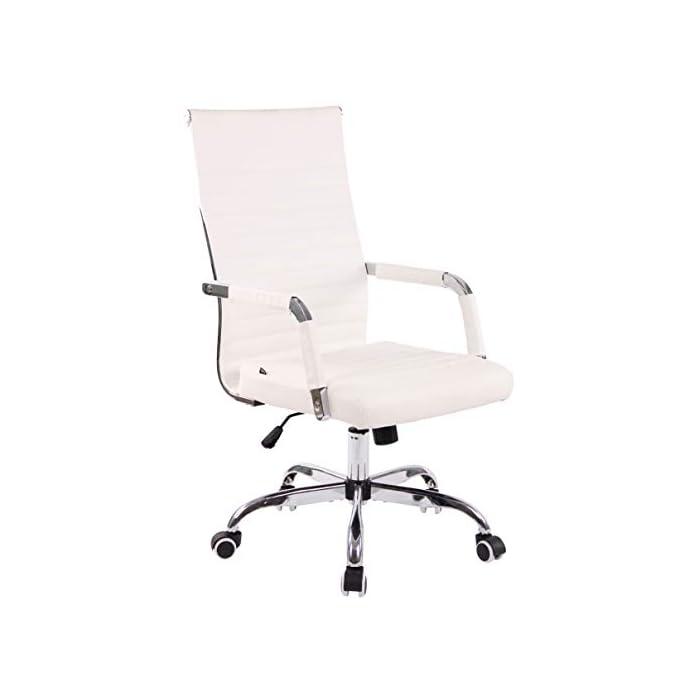 31jp5zPVnDL AJUSTABLE: La silla de oficina Amadora cuenta con un mecanismo de balanceo en el respaldo que se ajusta con el adaptador de rosca ubicado debajo del asiento, allí se encuentra también la manivela que permite ajustar la altura de la silla. El asiento puede dar un giro de 360° y gracias a las ruedas de su base permite a la unidad deslizarse por diversas superficies. MATERIALES: La estructura de la silla así como la base están hechas de metal en efecto óptico cromado brillante. La silla cuenta con un tapizado en cuero sintético (100% poliuretano), dicho material es resistente y fácil de limpiar. Las ruedas de la base son de polipropileno suave, que permite rodar con facilidad. DIMENSIONES: La silla ejecutiva tiene las siguientes medidas aproximadas: Alto: 96-106 cm I Ancho: 51 cm I Profundidad: 63 cm I Altura del asiento: 43 - 51 cm I Superficie del asiento (AxP): 46 x 49 cm I Altura del respaldo: 58 cm I Altura del reposabrazos: 19 cm I Capacidad máxima de carga: 120 kg I Peso: 11 kg.