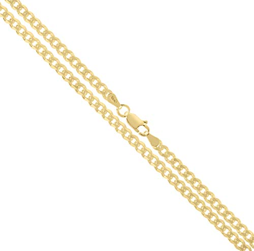 Orostar 10K Yellow Gold 3.6mm Curb Chain Necklace, 7