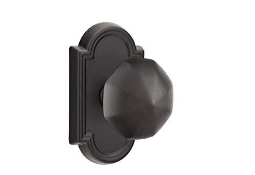 Emtek 71011 Passage Set #11 Rosette with 7 knob/Lever Options and 2 Finish Options (Bronze Octagon knob, Flat Black (FB))