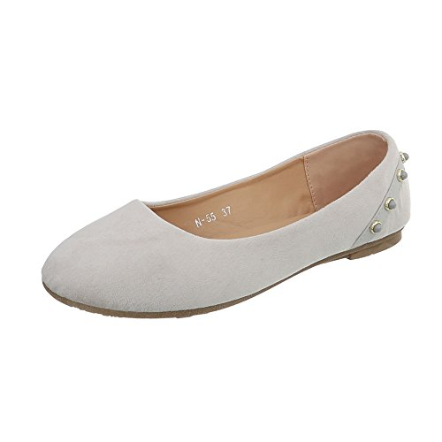 Women's Trainers Flat Sneakers high at Ital-Design Light Grey N-55 voDHS13md