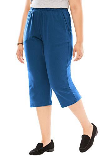 Rayon Knit Pant - Woman Within Women's Plus Size 7-Day Knit Capri - Royal Navy, L