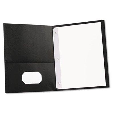 -- Two-Pocket Portfolios w/Tang Fasteners, 11 x 8-1/2, Black, 25/Box