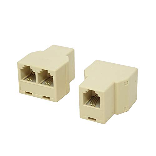 (Honbay 10PCS RJ11 6P4C 1 to 2 Female Telephone Connector for Landline Telephone)