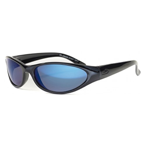 BLOC EYEWEAR STOAT SHINY BLACK FRAME JUNIOR SUNGLASSES (BLUE MIRROR CAT 3 LENS)