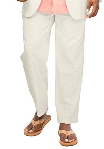 leat Front Pants, White Tall-4440 (Twill Double Pleat Pants)