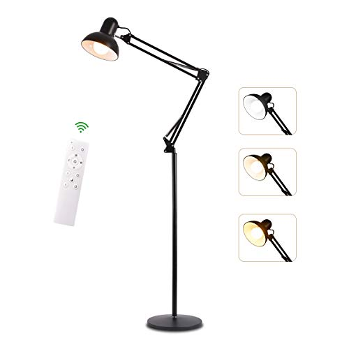 Floor Lamp Reading Light Adjustable Head Lamp Dimmable 360 Degrees Swing Arm Desk Lamp with Remote Control Uplight Heavy Metal Base for Office, Bedroom,Sewing,Living Room,Family Room,Study Room - Reading Arm