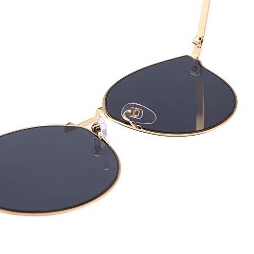 Réfléchissantes Cadre Gold Lens Métal Filles Fish Lunettes Gray De Adulte Soleil Protection Uv400 Frame Quotidien Femmes Extérieur xCYCH8Owq