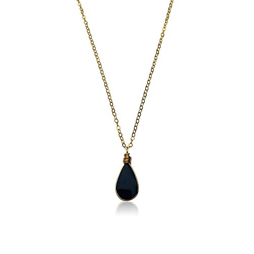 Dainty Gold Necklace with Black Teardrop Shaped Obsidian Stone Pendant in 14K Gold Fill 18