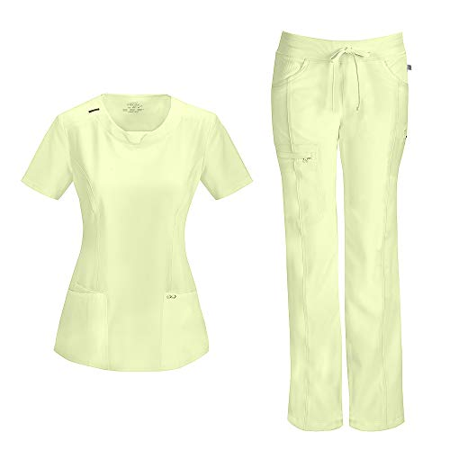 (Cherokee Infinity Women's with Certainty Round Neck Top 2624A & Low Rise Drawstring Pant 1123A Scrub Set (Antimicrobial) (Sunny Day -)