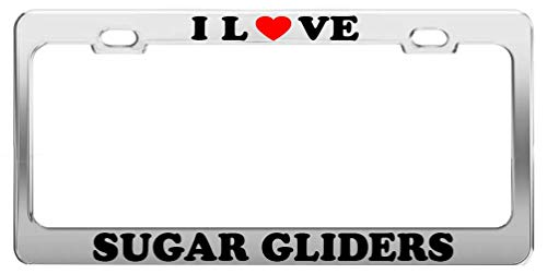 KSLIDS I Love Sugar Gliders License Plate Frame Car Truck Accessory Gift Humor 2 Hole and Screws - New England Glider