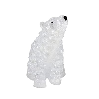 "19"" Pre-lit Commercial Grade Acrylic Polar Bear Christmas Display Decoration - Polar White LED Lights"
