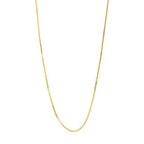 10k Yellow Gold Italian 0.50 Millimeters Box Chain Necklace, 14 Inches