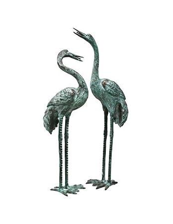 Amazoncom Design Toscano Emerald Verde Large Cranes Cast Bronze