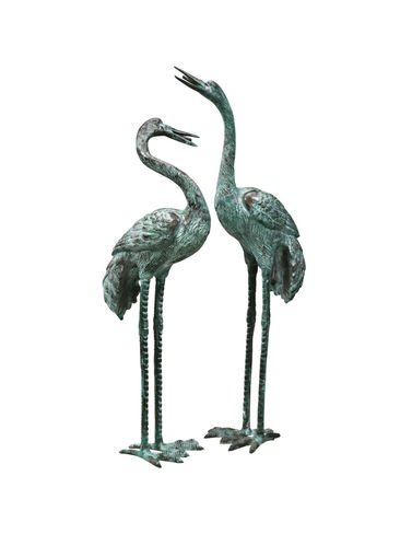 Design Toscano Emerald Verde Large Cranes Cast Bronze Garden Statue Set by Design Toscano