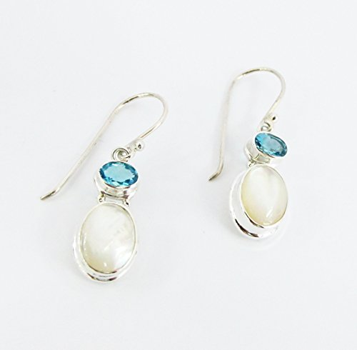 handmade 925 sterling silver dangle drop earrings with natural mother of pearl and genuine blue topaz, blue topaz earrings with shell, 3,5 cm drop length Blue Topaz Shell Earrings