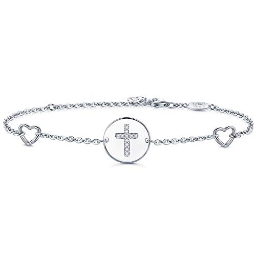 - AmorAime Womens 925 Sterling Silver Religious Cross Symbol Heart Charm Cubic Zirconia Bracelet White Gold Plated Adjustable