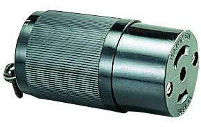 HBL7484 - Power Entry Connector, Power Entry, 15 A, Black, Plastic Body, 250 V, Midget Twist-Lock ()