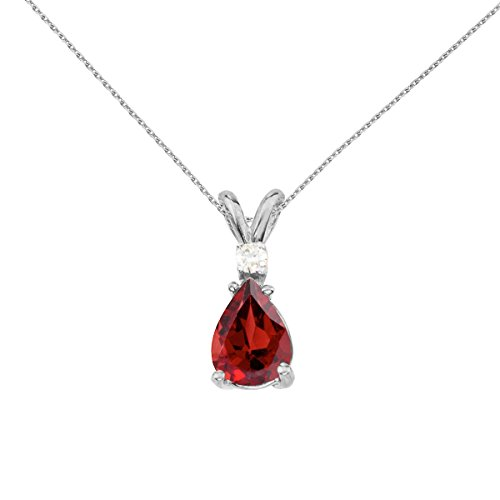 14k White Gold Pear Shaped Garnet and Diamond Pendant with 18