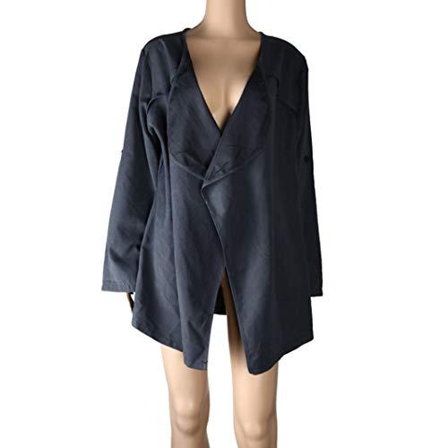 Beaded Leopard Clutch - FIRERO Women Autumn Spring Solid Long Sleeve Loose Plus Coat Cardigan