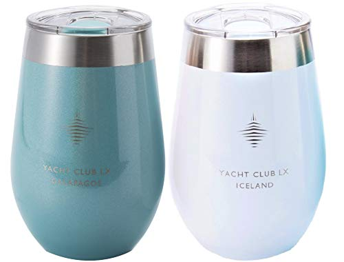 Yacht Club LX 12 oz Insulated Stemless Wine Glass Tumblers for sale  Delivered anywhere in USA