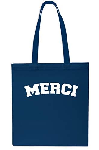 Merci French Tote Shopping Gym Beach Bag 42cm x38cm, 10 litres-Maroon Navy