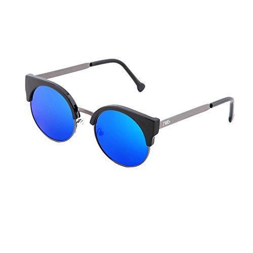 HEGEL sol redondo TWIG Azul mujer hombre Gafas Negro de espejo q4wOItx