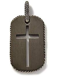 Men's Titanium Black Cross Cut Out Pendant