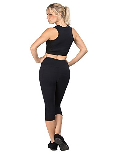 "Delfin Spa Women's Heat Maximizing FAR Infrared Neoprene Anti Cellulite Fitness Capris with Cell Pocket ""Sauna Pants"""