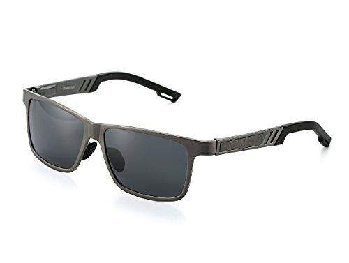 QORENY Men's Hot Retro Driving Polarized Wayfarer Sunglasses Al-Mg Metal Frame Ultra Light (Gun color frame/Grey Lens, As - Vivid Sunglasses