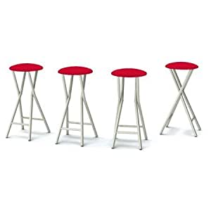 Outdoor Bar Stools, Set of 4, Backless Design, Steel Frame, Padded Seat, Patio Seat, Water and UV Resistant, Comfortable Stools, Bar Furniture, Multiple Finishes, BONUS E-book (Red)