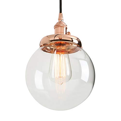 Light Pendant Copper (Phansthy Vintage Industrial Pendant Light Retro Warehouse Light Fixture E26 Globe Clear Glass Shade Hanging Light Lamp for Loft Kitchen Coffee Bar)