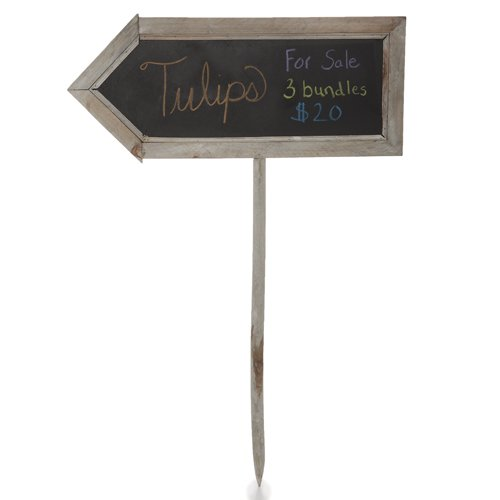 The Lucky Clover Trading Two Sided Arrow Shaped Chalkboard, Large Sign, Grey