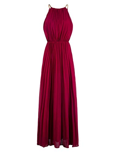 PERSUN Women's Casual Chiffon Cut Out Shoulder Pleated Party Maxi Dress (Large, Burgundy)