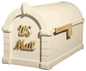 Gaines Signature Keystone Mailbox Almond w/Polished Brass KS-3S