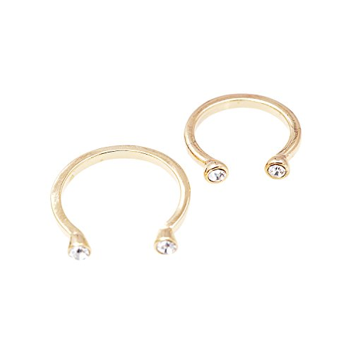Adjustable Crystal End Open Band Ring and Midi Fashion Ring Set (gold-plated-base) - Open End Base