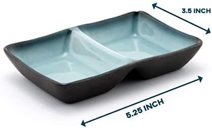 Happy Sales HSSD-DBGB4, Dual Sauce Bowls, Dual Dipping Bowls, Dual Sauce Dishes, Set of 4 pc, Grey Blue