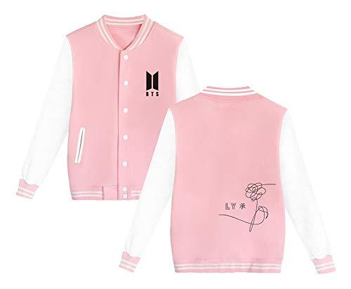 Baseball Elekikil Cappotto Bts Uomini Maglietta Da Pink Sweatshirt Giacca Lunga Invernale Casual Donne E Autunno Per Popolare Yourself Moda Manica Love Outwear gYrqg