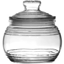 Glass Candy Jar with Ribbed Accents and Tight-Sealing Lid, 19 oz., 4.5 inches (Glass Candy Jar)