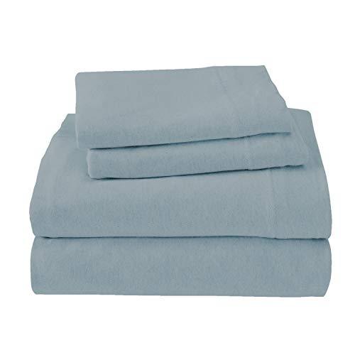 Royale Linens Soft Tees Cotton Modal Jersey Knit Sheet Set, King, Smoke Blue ()