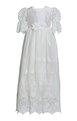 Caremour Baby Girls' Baptism Silk Gown With Lace Overlay 3-6 Months (Chest: 20.5 Inches, Length: 42 Inches) White (Silk Christening Gown)
